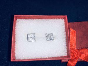 Princess cut diamond white gold earrings for Sale in Arlington, TX