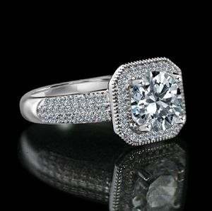 2 CT. Round Stunning vintage micro pave halo engagement fully Pav'e upper Shank Sterling Silver Ring, Simulated Diamond for Sale in New York, NY