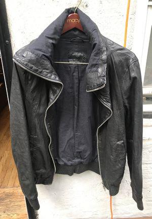 Allsaints Black Leather Jacket - Men's L for Sale in New York, NY
