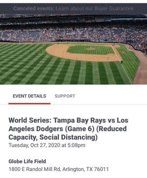 Dodgers World Series single game ticket for Sale in Arlington, TX