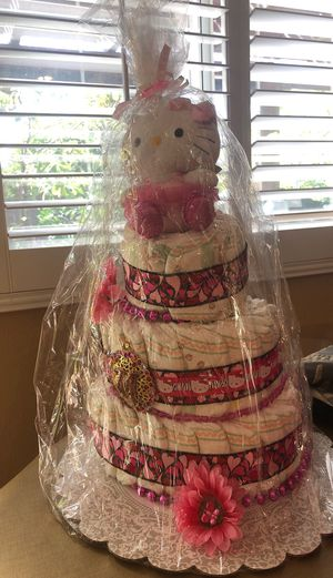 Hello kitty diaper cake for Sale in Santa Ana, CA