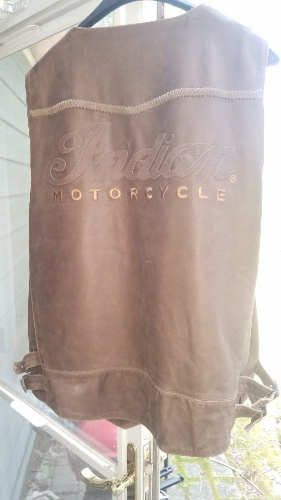 Indian Motorcycle leather vest XL New