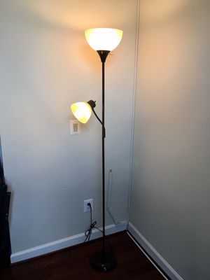 77 in. Brown Torchiere Floor Lamp with Reading Light and Heat Resistant Shade for Sale in Vienna, VA