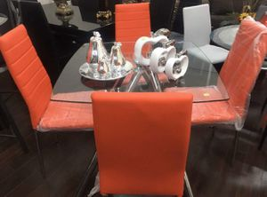 Brand new leather dining room set 5 pcs With chrome legs for Sale in Deerfield Beach, FL