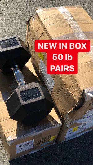 NEW Dumbbells Rubber Coated Hex 50 lb PAIRS for Sale in Fremont, CA