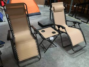 New in box 3 pcs set 2 zero gravity chair reclining lounge chair with table set for Sale in West Covina, CA