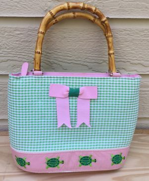 Pink & Green Gingham Purse w/ Bamboo Handles & Embroidered Turtles ~ Check out my Page 😊 for Sale in Fresno, CA