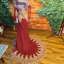 Maroon red wedding gown with gold work and rainbow stones for Sale in Alexandria,  VA
