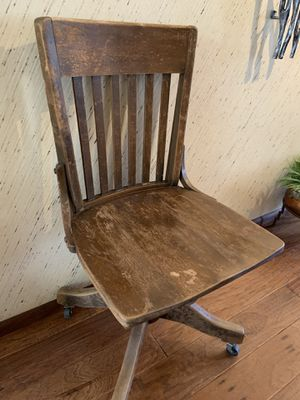 Antique Wood Adjustable Office Desk Chair for Sale in Mesa, AZ