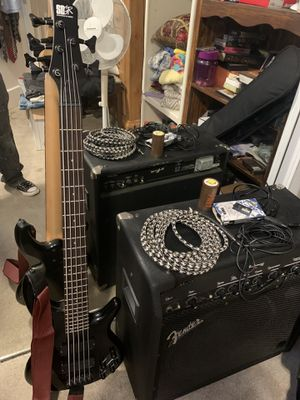 Bass guitar, Fender Bass Speakers, Cable, and microphone. for Sale in West Menlo Park, CA