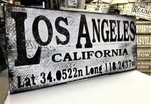 Los Angeles Longitude Latitude Town Sign, Rustic Distressed Home Decor, Hand Made Wall Art for Sale in Los Angeles, CA