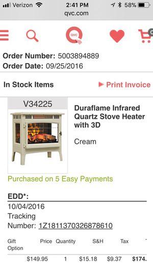 Duraflame heater for Sale in Ashland, MA