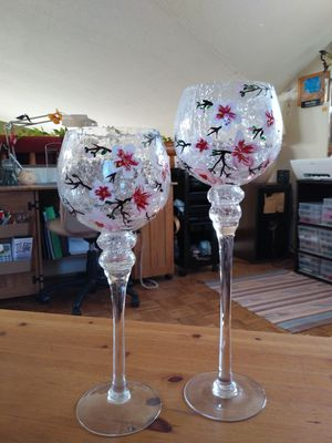Pair of hand painted glass CANDLE holders for Sale in Edgewood, NM