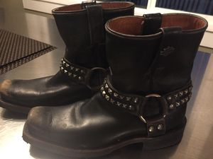 Harley Davidson Women's Katerina Black Distressed Mid Cut Harness Studded Motorcycle Boot Size 8M for Sale in Issaquah, WA