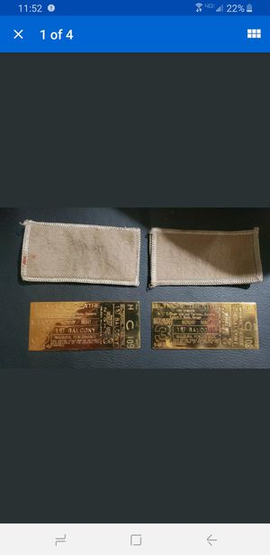 Biltmore Theatre authentic brass ticket lot of 2 unused March 3rd 1924 for Sale in Milford, CT