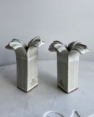 Vintage 1980's Paul Anthony (signed) Stoneware Candlesticks- A Pair for Sale in Fort Lauderdale, FL