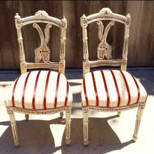 2 American Antique (1820-60 Era) Hand-Carved French Design Chairs in 10K Gold Leaf Overlay Painted White for Sale in Los Angeles, CA