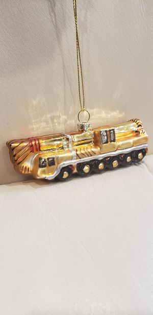"""4"""" construction truck xmas ornament new with tags yellowish coloration made of glass. for Sale in Ontario, CA"""