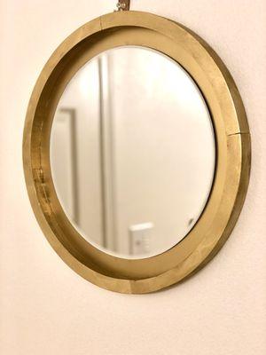 Gold mirror,round mirror, Boho Mirror, Wall decor, farmhouse decor,Bohemian round mirror, Wooden round mirror for Sale in Seattle, WA