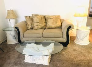 Beige sofa, glass top coffee table & side tables, 2 lamps, and wooden swivel off white chair for Sale in St. Petersburg, FL