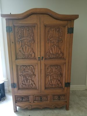 Carved rustic solid wood armoire 70+ inches tall for Sale in Fairfax Station, VA