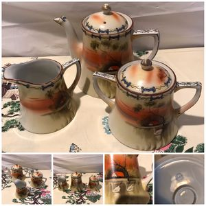 Antique NIPPON HAND PAINTED coffee set with large teapot, large covered sugar and large creamer. Stamped at bottom. for Sale in E ATLANTC BCH, NY