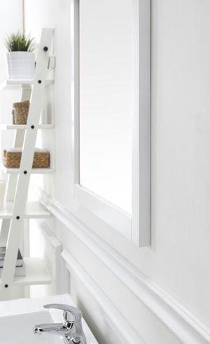 28 in. W x 40 in. L Framed Fog Free Wall Mirror in White for Sale in Richmond, VA