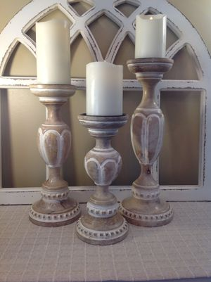 GORGEOUS CARVED LIGHT WOOD LARGE CANDLE HOLDERS for Sale in Thousand Oaks, CA