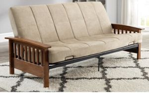 Brand New in Box - Never Used - Better Homes & Gardens Mission Wood Arm Futon, Beige for Sale in Gastonia, NC