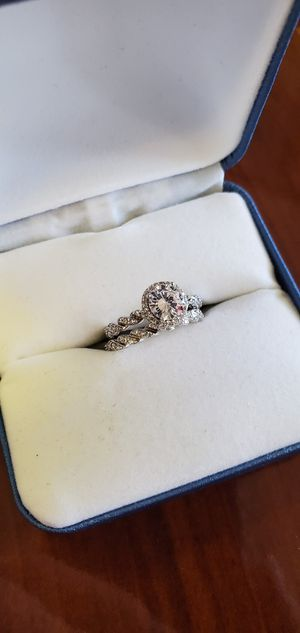 2PCS Band 925 Sterling Silver, 1.08 Carats, Halo Cut AAA Cubic Zirconia Stones, Wedding/Engagement Ring Size 4, 4.5, 5, 6, 7, 8 & 9.5 for Sale in Portland, OR