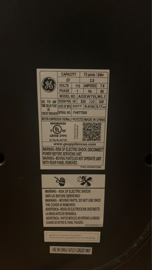GE Dehumidifier for Sale in Hudson, FL