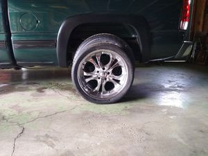 20inch boss rims 5 lug I bought for my caddy didn't fit.paid 400,will take 300,would clean up.nice3good tires 1bad for Sale in Obetz, OH