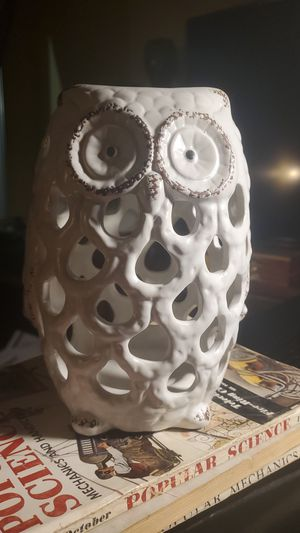 8 inch tall ceramic owl planter/ candle holder for Sale in Tempe, AZ