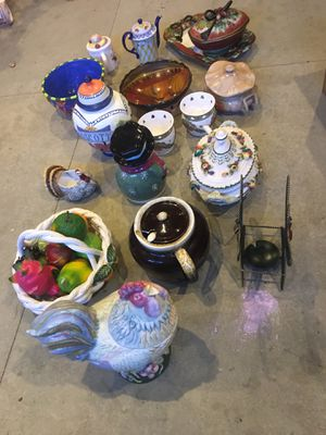Lots of Pottery, Ceramic, Vases, Decoration, holiday items, planting for Sale in Rancho Cordova, CA