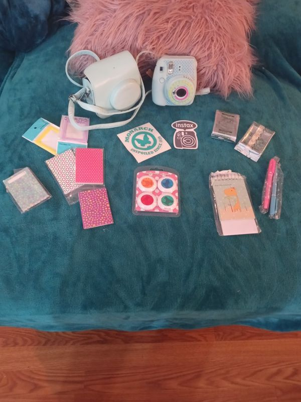 Mini Polaroid camera with case 2 new film packages and lots of adorable accessories