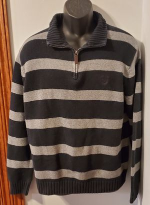 Chaps 3/4 Zipper Sweater With Large Stripes 100% Cotton Perfect Condition for Sale in Frederick, MD