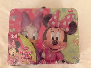Disney Junior Minnie Puzzle Mouse 24 Piece Puzzle in Tin Box w Handle for Sale in Mesa, AZ
