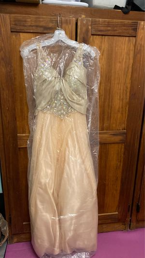 Tailored Prom/Formal Champagne Sequin Dress with Matching Scarf for Sale in Ithaca, NY