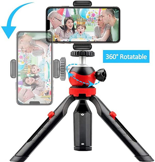 Mini Phone Tripod, Small Tabletop Tripod for iPhone Samsung Sports Camera DSLR Gopro with Remote Control and Universal Mount Holder, 360° Rotating Me