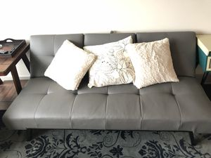 Grey leather futon, good condition for Sale in Sterling, VA