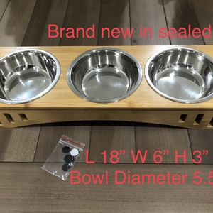 Pet Bowl with bamboo stand Dog and Cat-Brand new for Sale in Ontario, CA