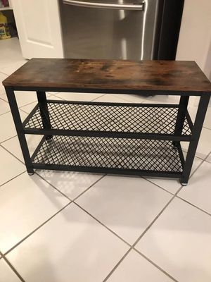 Shoe Bench, 3-Tier Shoe Rack, Storage Shelves with Seat, for Entryway, Living Room, Hallway, Accent Furniture, Steel Frame, Industrial Design, Rustic for Sale in Corona, CA