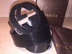 Gucci Interlocking Signature Guccissima Black Lining Black Buckle Leather Belt Authentic for Sale in Queens, NY