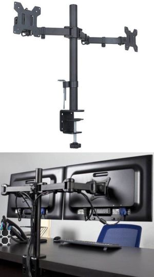 New in box 10 to 24 inches dual computer screen monitor holder stand clamp mount for Sale in Santa Fe Springs, CA