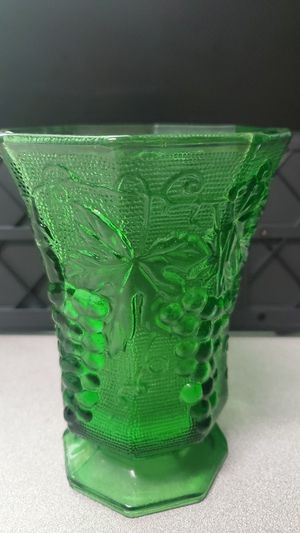 Emerald Green Vintage Glass Hexagonal Vase with grape design by Anchor Hocking for Sale in Long Beach, CA