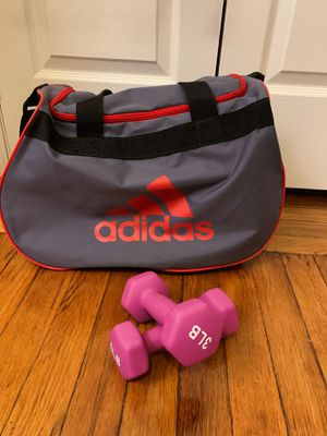 Brand New dumbell (3lb) & Adidas Duffle Bag for Sale in Guttenberg, NJ