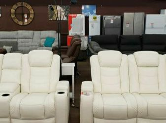 Party Time White LED Power Reclining Living Room Set with Adjustable Headrest 📂 Couch ⭐ Living Room Set for Sale in Round Rock,  TX