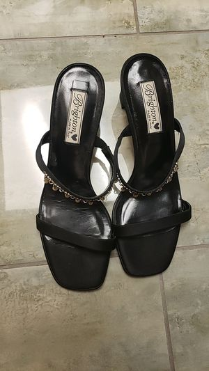 Brighton made in Italy genuine leather size 10 m black high-heeled slip-on sandals accented with silver and pearlish beads dangling designer for Sale in Scottsdale, AZ