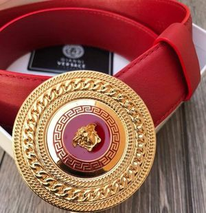 NWT Versace Red leather gold round medallion buckle size 95/38 fits 30-34 waist Gucci belt for Sale in Hartford, CT
