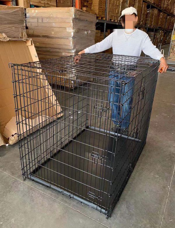 XXL 54x36x45 inches tall large 2 doors heavy duty dog cage crate kennel 200 lbs capacity assembly required some minor wear and tear jaula de perro